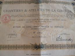 Action 1916 Chantiers Et Ateliers De La Gironde Bateaux Marine. Tirage 8 000. Cinq Cent Francs - Transports