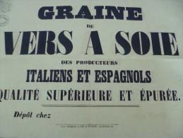 Affiche Placard Publicitaire Commerce De La Soie . Graine De Vers à Soie Des Producteurs Italiens Et Espagnols. 19ème - Manifesti