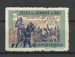 Vignette 1911 Fetes De Jeanne D`Arc Compiegne Tournament Ritter MNH - Cinderellas