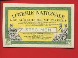 CALENDRIER BILLET DE LOTERIE NATIONALE 1939 SPECIMEN MEDAILLES MILITAIRES ROLLET BERTILLON - Calendars