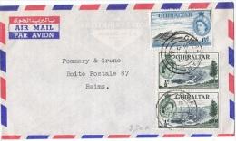 L-GB 56 - GIBRALTAR N° 130-138 Sur Lettre Par Avion Pour Reims - Gibraltar