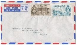 L-GB 57 - GIBRALTAR N° 133-135 Sur Lettre Par Avion Pour Reims - Gibraltar