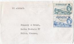 L-GB 59 - GIBRALTAR N° 135-136 Sur Lettre Par Avion Pour Reims - Gibilterra