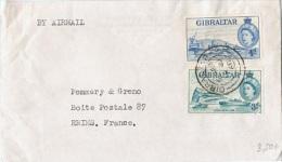 L-GB 62 - GIBRALTAR N° 135-136 Sur Lettre Par Avion Pour Reims - Gibilterra
