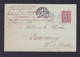 Entier Postal Semeuse 10c De Leon Mazet Confiseur Montargis à Hotel De La Cloche Commercy ( Concerne Les Madeleines ) - Entiers Postaux