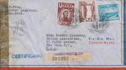 G)1943 PERU, CIRC. LIMA CANC., TORIBIO DE LUZURIAGA-GOVERNMENT RESTAURANT AT CALLAO-WORKERS HOUSES, CERTIFICATED AIRMAIL - Peru