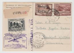 Per050/  PERU - Luftpost Einschreibekarte Mit Lufthansa Und Flugjubiläumsstempel (2) 1937 - Peru