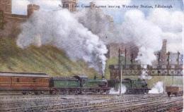 Artist Signed : North Eastern Railway  -  East Coast Express Leaving Waverley Station, Edinburgh - Trains