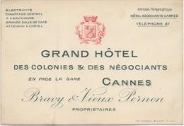 Carte Publicité/Note D'Hôtel. Cannes. Grand Hôtel Des Colonies & Négociants. - Cartes De Visite
