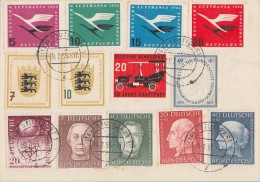 Bund Karte Minr.200-203,205-208,210,211,212-213,214 Stuttgart 19.7.55 - BRD