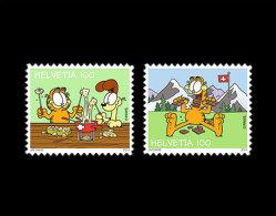 Switzerland 2014 Issue: Garfield 2v Mnh / ** Self Adhesive Comics Cats Chocolate - Switzerland