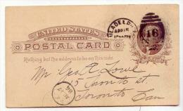 D12663 - Entier Postal 1886 Philadelphie à Toronto - Postwaardestukken