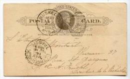 D12664 - Entier Postal 1889 Muskegon Michigan -  DETROIT Transit *May 14 1889* - Postwaardestukken