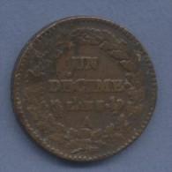 UN DECIME DUPRE  GRAND MODULE AN 7 / 5   A   Coq/Corne TTB Le 5 Se Voit Encore Parfaitement .. Plutot Rare - 1789-1795 Monnaies Constitutionnelles