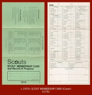 """E1792  Membership Card (c.1970's) """"SCOUT MEMBERSHIP CARD And Record Of Progress"""" - Scouting"""