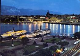 Geneve - La Rade Le Soir - 5579 - Formato Grande Viaggiata - Postcards
