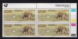 SOUTH AFRICA, 1995, MNH, Control Block Of 4, Kwazulu Natal (animal), M 954 - South Africa (1961-...)