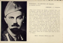 Medaglia D'oro - Govoni Aladino  Di Corrado Da Tamara - Ferrara - Capitano 1 Granatieri - Formato Grande Non Viaggiata - Guerra 1939-45