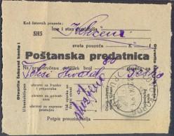 YUGOSLAVIA - CROATIA - SHS -  PREDATNICA - RECOMM. Paper - LASLOVO KOROG  PU  KOLODVOR -  1920 - RARE - Storia Postale