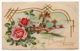 Bonne Année--paysage De Neige Avec Pont Et Maisons,fleurs (roses)  Série 1500  éd M.D  Paris - Nouvel An