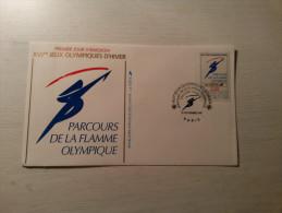 ENVELOPPE - FDC - XVIe Jeux Olympiques D´Hiver - Parcours De La Flamme - 14/11/1991. - FDC