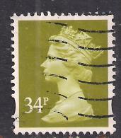 GB 2003 QE2 34p Yellow Olive Machin 2 Bands SG Y1697.....( B1299 ) - 1952-.... (Elisabeth II.)