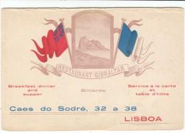 Restaurant 'Gibraltar' Cafe Lisbon Portugal Advertisement Card - Autres