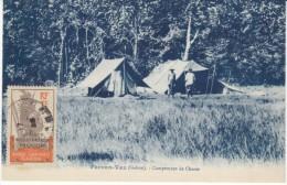 Fernan-Vaz Gabon, Hunting Campsite, French Equatorial Africa Stamp, C1920s Vintage Postcard - Gabon
