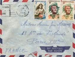 1959  Lettre Avion Pour La France  Yv 3, 7 Et 8 - Polynésie Française