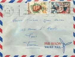 1960  Lettre Avion Pour La France  Yv 7 Et 9 - Polynésie Française