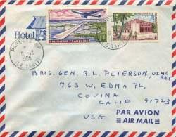 1965 Lettre Avion Pour Les USA   Yv 14 Et PA 5 - Polynésie Française
