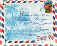 1963  Lettre Avion Pourla France   Yv 15  Flore Polynésienne - Polynésie Française