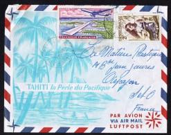 1963  Lettre Avion Pour La France   Yv 4, PA5 - Polynésie Française