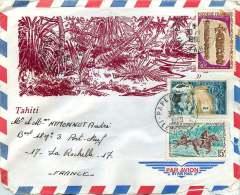 1969  Lettre Avion Pour La France  Yv 27, 49 (Courses De Chevaux), 57 - Polynésie Française
