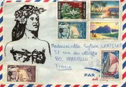 1971  Lettre  Avion Pour La France  Yv 27, 28, 30, 31, 37, 64 - Polynésie Française