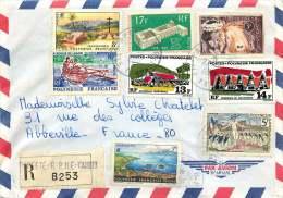 1970  Lettre Avion Recommandée  Pour La France  Yv 28, 32, 33, 36, 47, 70, 72, 73   Verso Yv 78 (P.A.T.A 1970) - Polynésie Française