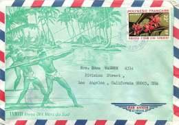 1971  Lettre Avion De Uturoa  Pour Les USA  Yv 85 (Rose De Porcelaine) - Polynésie Française