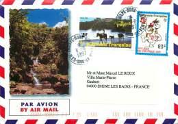 1997  Lettre Avion De Vaitape - Bora-Bora (Iles Sous-le- Vent)   Pour La France  Yv 400, 493 (Jeux Du Pacifique) - Polynésie Française