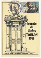"""FRANCE => Carte Locale - 1,40 + 0,30 - Journée Du Timbre - """"Porte De L'Ancienne Comédie"""" - Lettre D'amour / TOULON 1981 - Stamp's Day"""