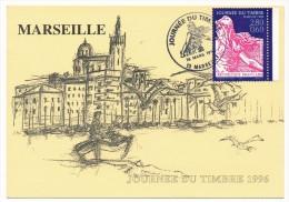 """FRANCE => Carte Locale - 2,80 + 0,60 - Journée Du Timbre - """"N.D De La Garde""""- Semeuse 1903 - MARSEILLE 1996 - Stamp's Day"""