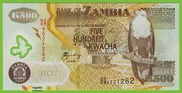 Voyo ZAMBIA 500 Kwacha 2009 P43g B145g UNC Prefix DO/03 Fish Eagle Polymer - Zambia