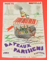 Societe Nouvelle , Bateaux Parisiens Port D'auteuil :::: Carte Publicité  ----------- 297 - France