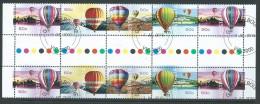 Australia 2008 Ballooning Up & Away Set Of 4 In 2 Gutter Pair Strips Of 5 FU Melbourne CTO - 2000-09 Elizabeth II