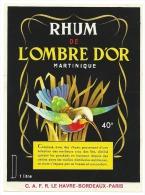 """Ancienne étiquette Rhum  De L'ombre D'or Martinique  CAFR Le Havre Bordeux Paris  """"oiseau Colibri"""" - Rhum"""