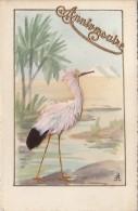 Matériaux Différents - Carte Peinte -  Plume - Oiseau Echassier - Plume Flamand Rose - Cartes Postales