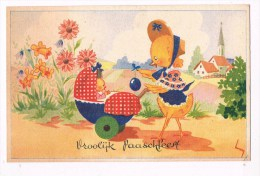 32234 - Chiecken With Chick In Pram - Poulet Avec Le Poussin Dans La PRAM - Kip Met Kuiken In Kinderwagen - Illustrateurs & Photographes