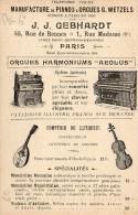 Paris Carte Publmicitaire Manufacture De Pianos 1 Rue Madame - Arrondissement: 06