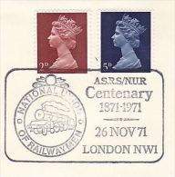 1971 COVER NATIONAL UNION OF RAILWAYMEN CENTENARY EVENT Pmk  Gb Stamps Steam Train Trade Union Railway - Trains