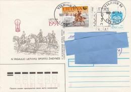 Z] Entier Postal Stationery Lituanie Lithuania Cheval Horse Affranchissement Mixte URSS USSR Mixed Postage - Lituanie