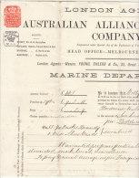 Assurance De 665 £  Eau De Vie Et  2 Navires, Bordeaux -> Londres -> Dunedin 1881 (4 Scans Et Expl.) - Documents Historiques